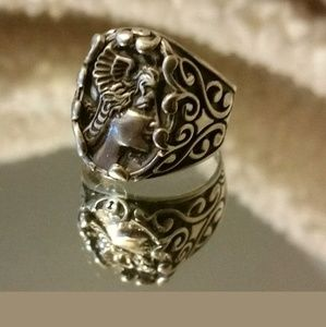 Vintage Sterling Art Nouveau Lady Ring